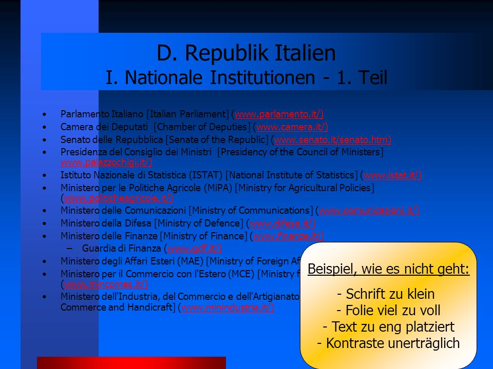 D. Republik Italien I. Nationale Institutionen - 1. Teil