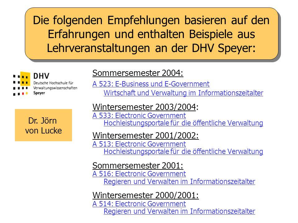 Die folgenden Empfehlungen basieren auf den Erfahrungen und enthalten Beispiele aus Lehrveranstaltungen an der DHV Speyer: