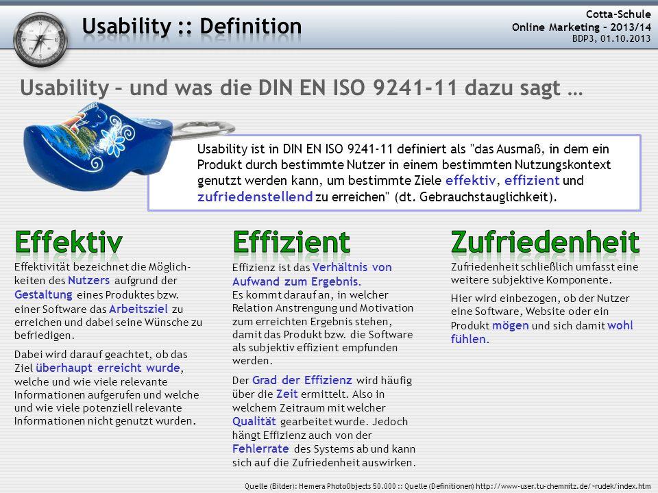 Effektiv Effizient Zufriedenheit Usability :: Definition