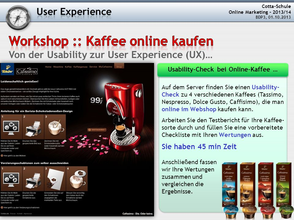 Usability-Check bei Online-Kaffee …