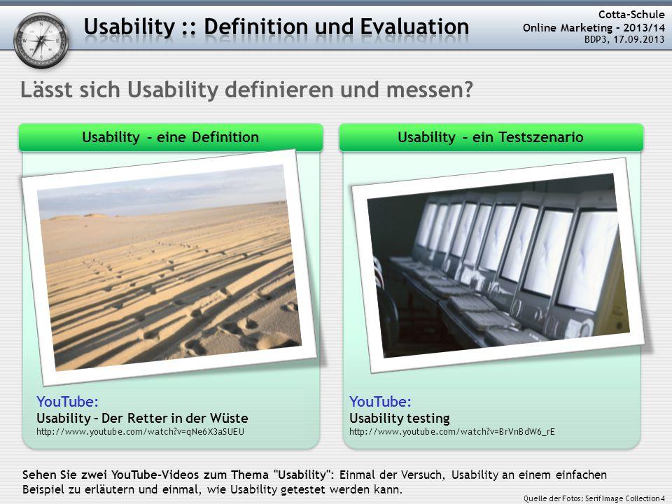 Usability – eine Definition Usability – ein Testszenario