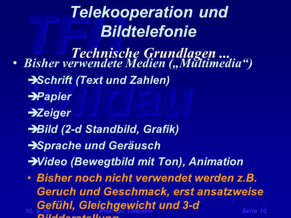 Telekooperation und Bildtelefonie Technische Grundlagen ...