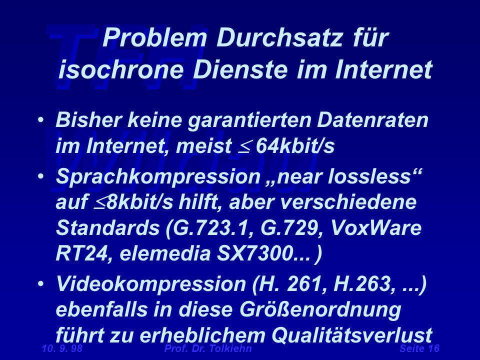 Problem Durchsatz für isochrone Dienste im Internet