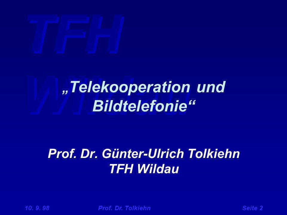 """""""Telekooperation und Bildtelefonie Prof. Dr"""