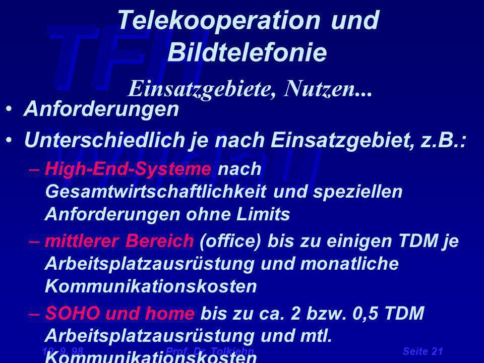 Telekooperation und Bildtelefonie Einsatzgebiete, Nutzen...