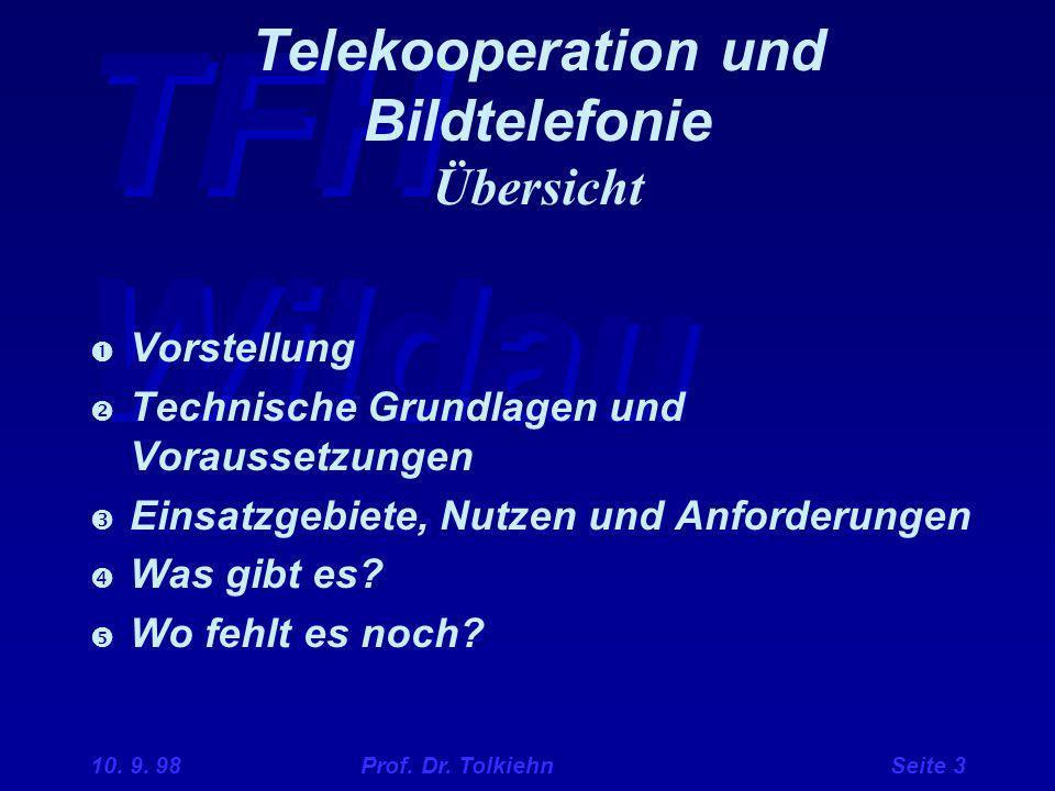 Telekooperation und Bildtelefonie Übersicht