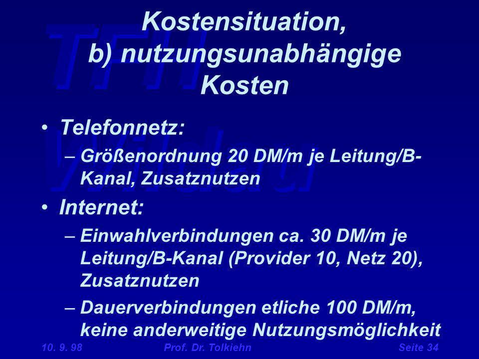Kostensituation, b) nutzungsunabhängige Kosten