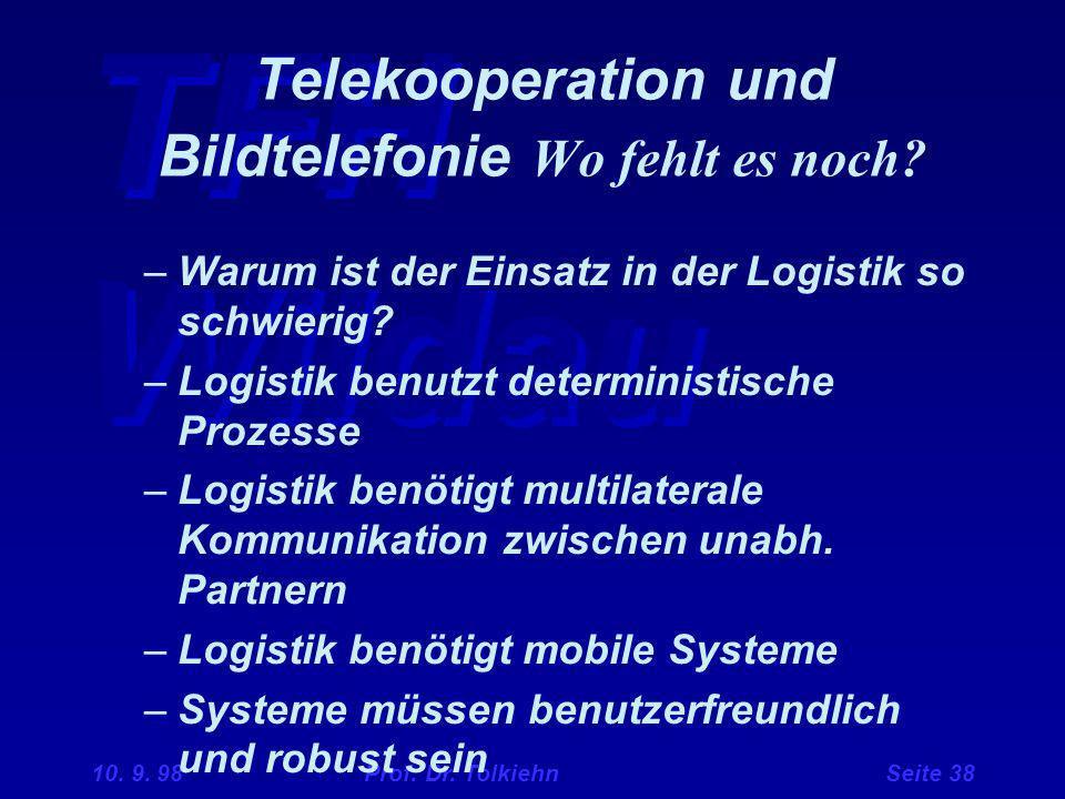 Telekooperation und Bildtelefonie Wo fehlt es noch