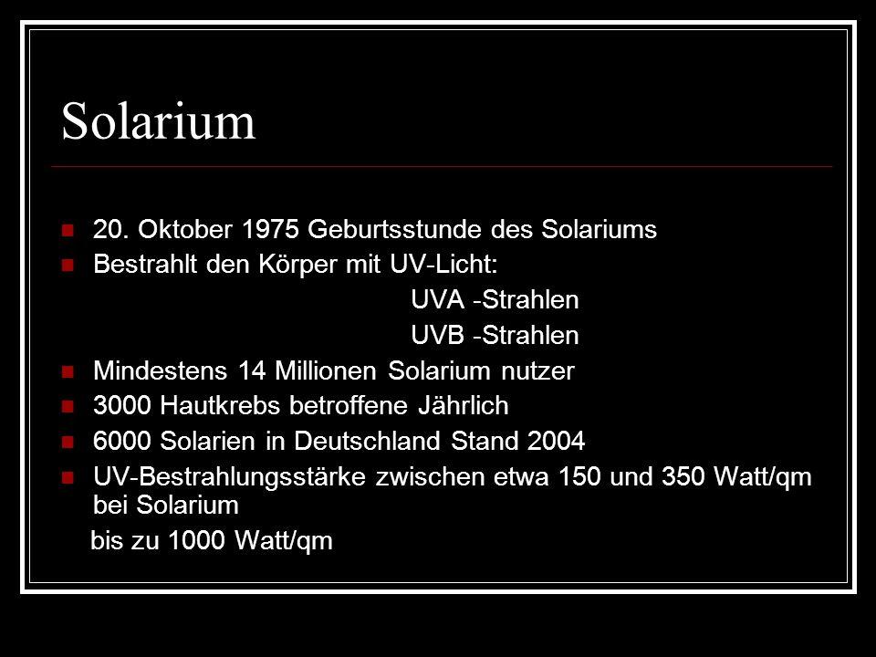 Solarium 20. Oktober 1975 Geburtsstunde des Solariums