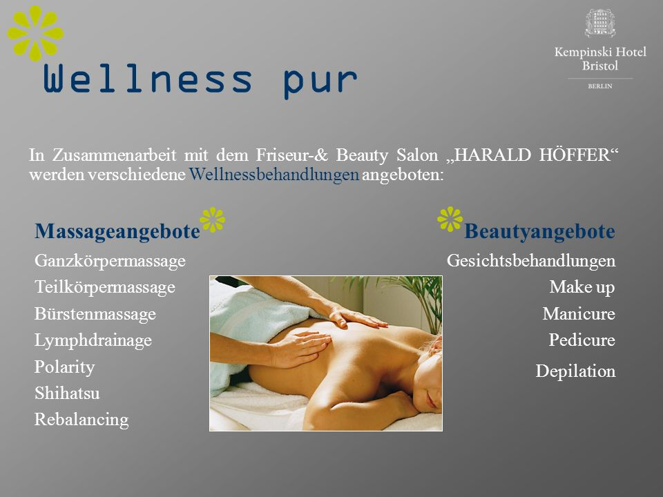 Wellness pur Massageangebote Beautyangebote