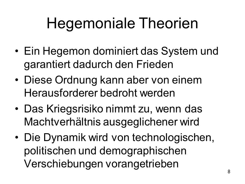 Hegemoniale Theorien Ein Hegemon dominiert das System und garantiert dadurch den Frieden.