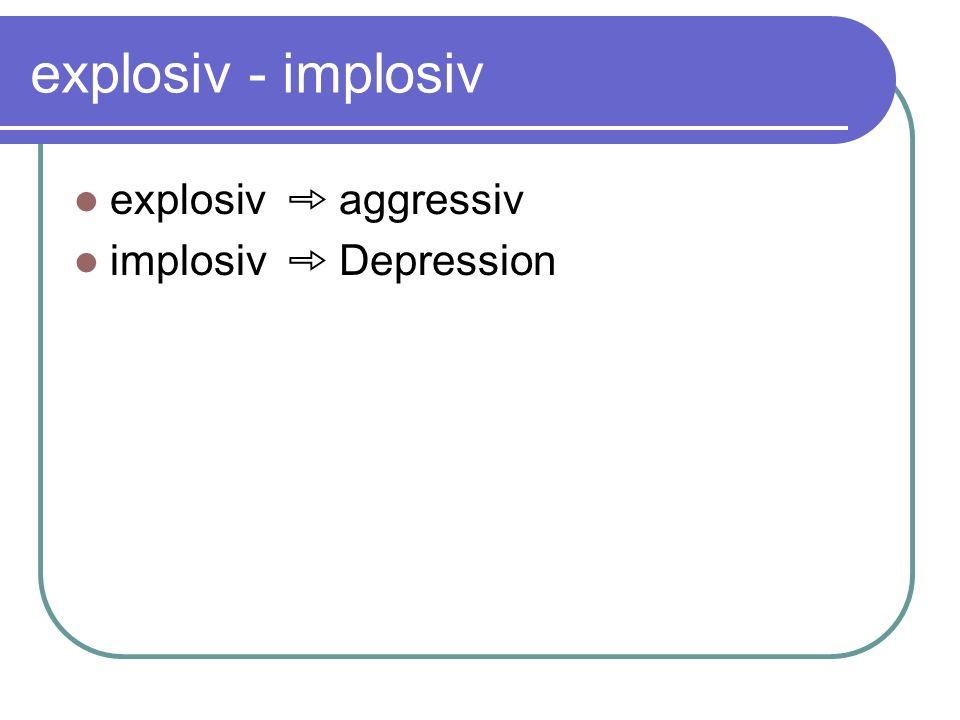 explosiv - implosiv explosiv ➾ aggressiv implosiv ➾ Depression