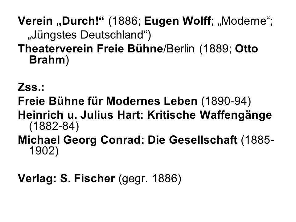 """Verein """"Durch! (1886; Eugen Wolff; """"Moderne ;"""