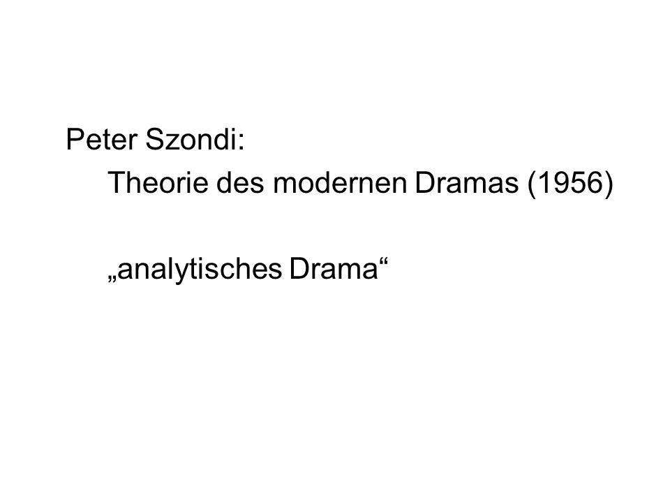 """Peter Szondi: Theorie des modernen Dramas (1956) """"analytisches Drama"""