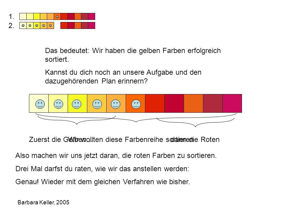 Das bedeutet: Wir haben die gelben Farben erfolgreich sortiert.