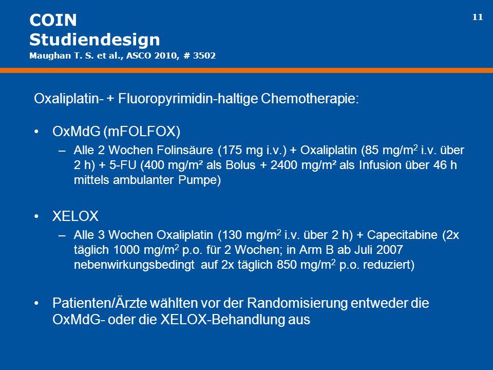 COIN Studiendesign Maughan T. S. et al., ASCO 2010, # 3502. Oxaliplatin- + Fluoropyrimidin-haltige Chemotherapie: