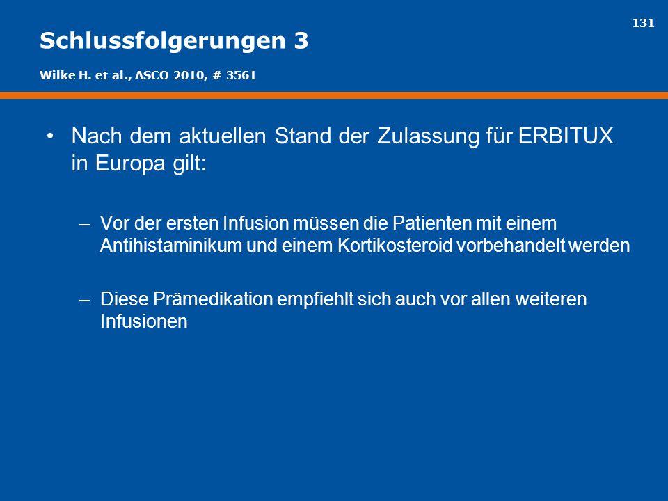 Nach dem aktuellen Stand der Zulassung für ERBITUX in Europa gilt: