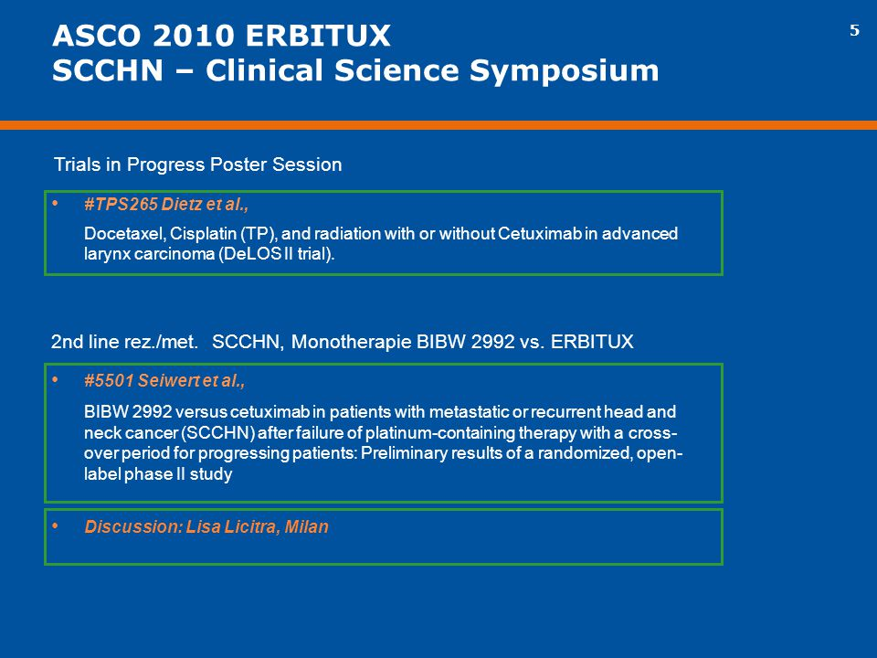 ASCO 2010 ERBITUX SCCHN – Clinical Science Symposium