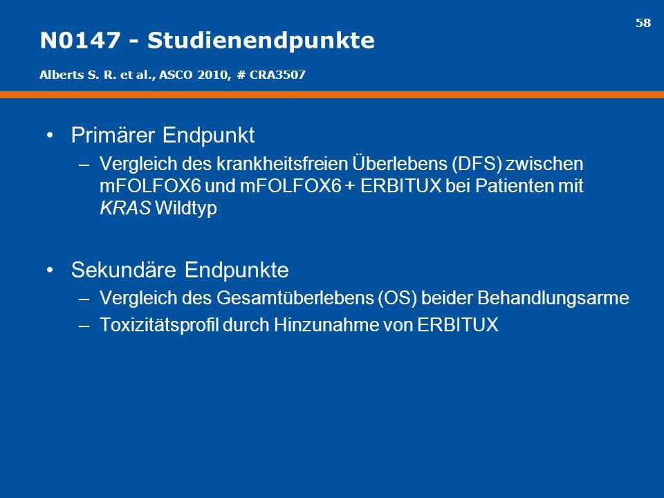N0147 - Studienendpunkte Primärer Endpunkt Sekundäre Endpunkte