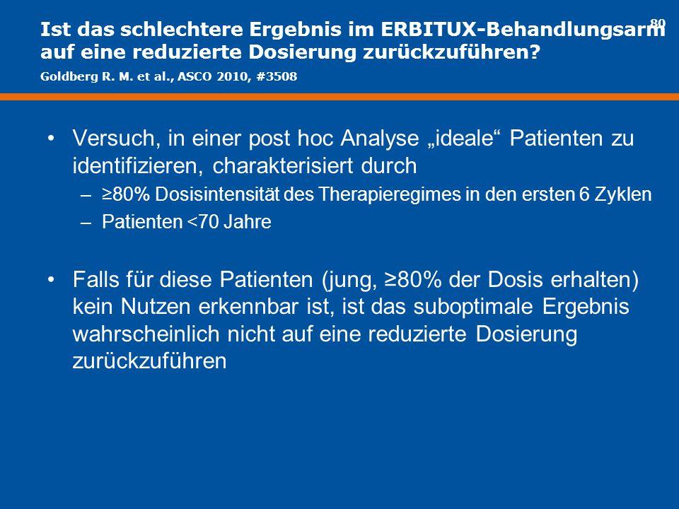 Ist das schlechtere Ergebnis im ERBITUX-Behandlungsarm auf eine reduzierte Dosierung zurückzuführen