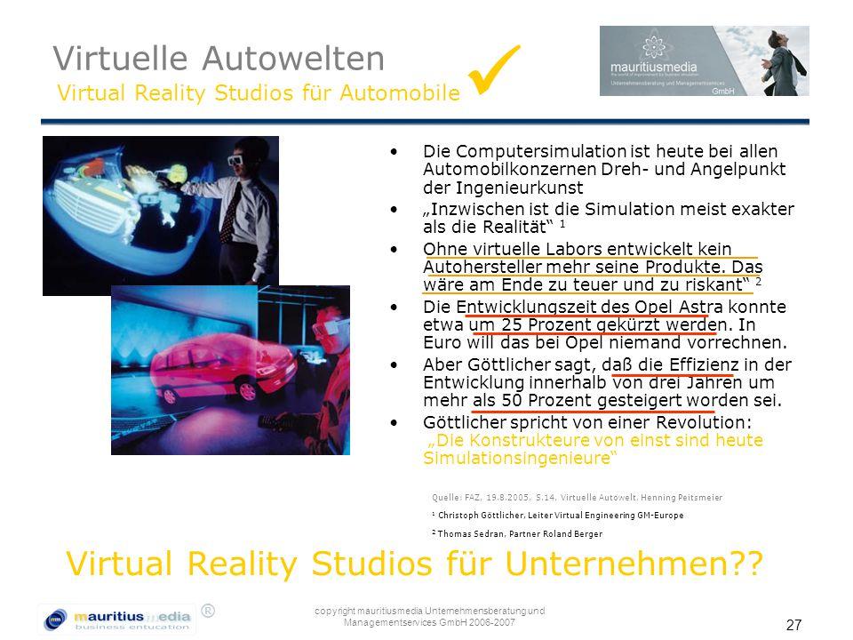  Virtuelle Autowelten Virtual Reality Studios für Unternehmen