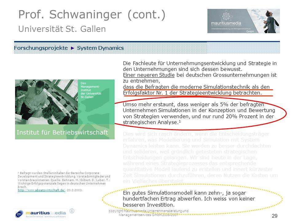 Prof. Schwaninger (cont.) Universität St. Gallen