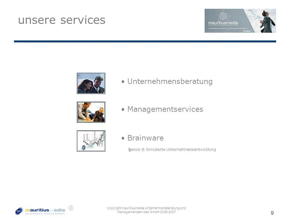 unsere services Unternehmensberatung Managementservices Brainware