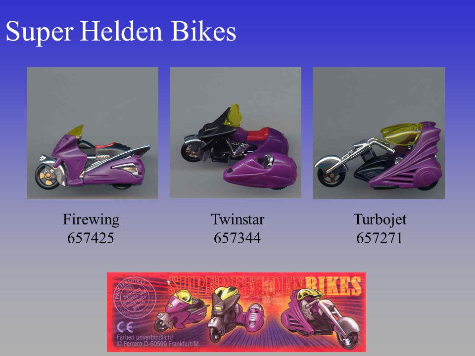 Super Helden Bikes Firewing 657425. Twinstar 657344.