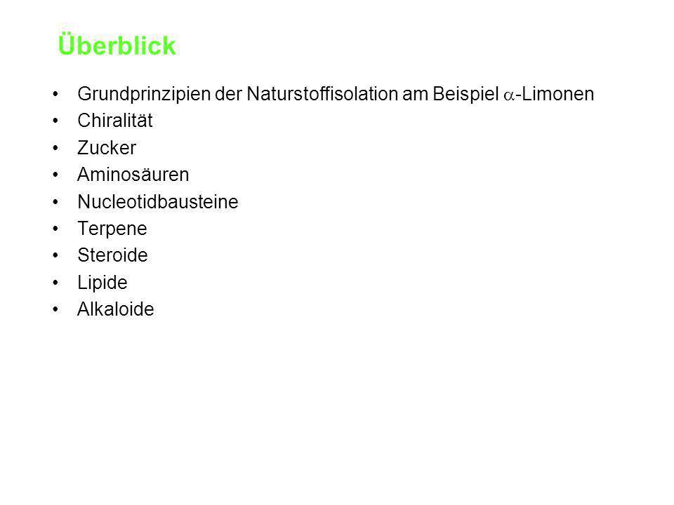 Überblick Grundprinzipien der Naturstoffisolation am Beispiel a-Limonen. Chiralität. Zucker. Aminosäuren.