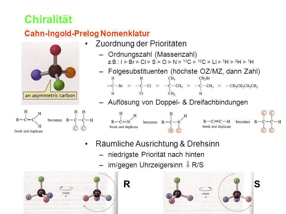 Chiralität R S Cahn-Ingold-Prelog Nomenklatur