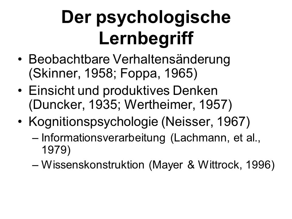 Der psychologische Lernbegriff