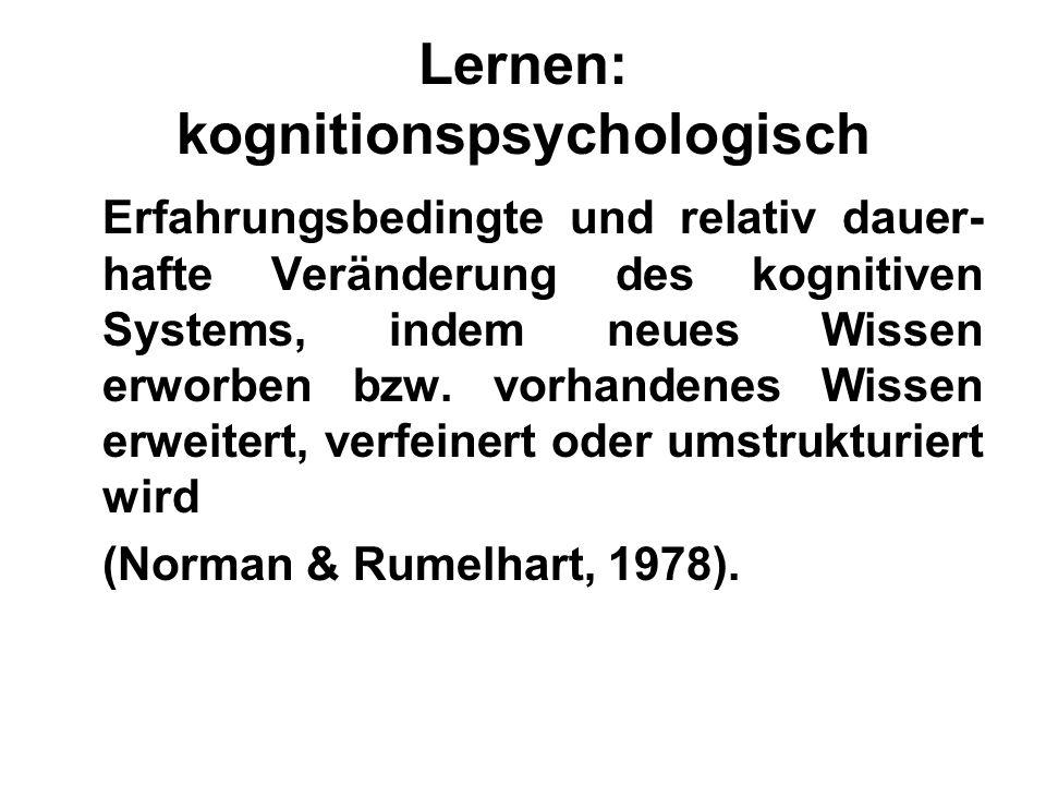 Lernen: kognitionspsychologisch