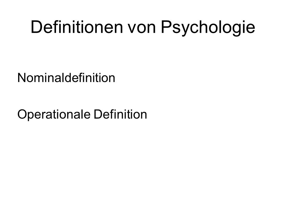 Definitionen von Psychologie