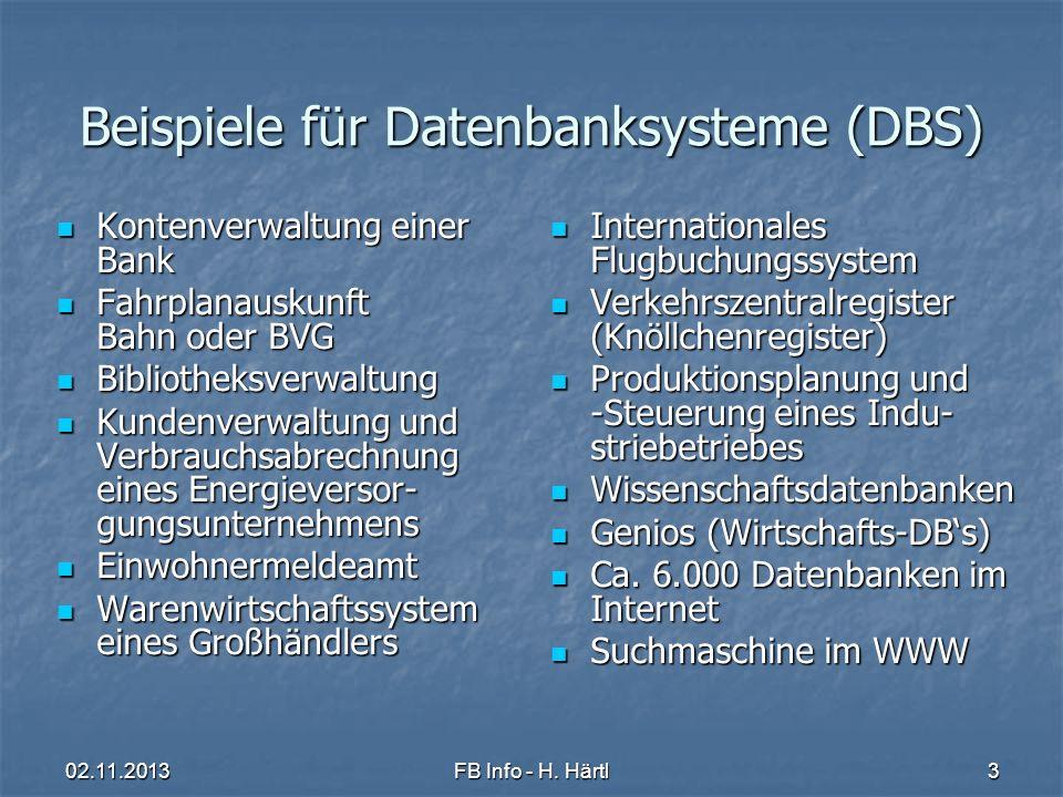 Beispiele für Datenbanksysteme (DBS)