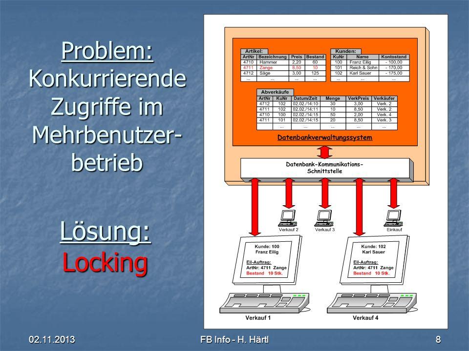Problem: Konkurrierende Zugriffe im Mehrbenutzer-betrieb