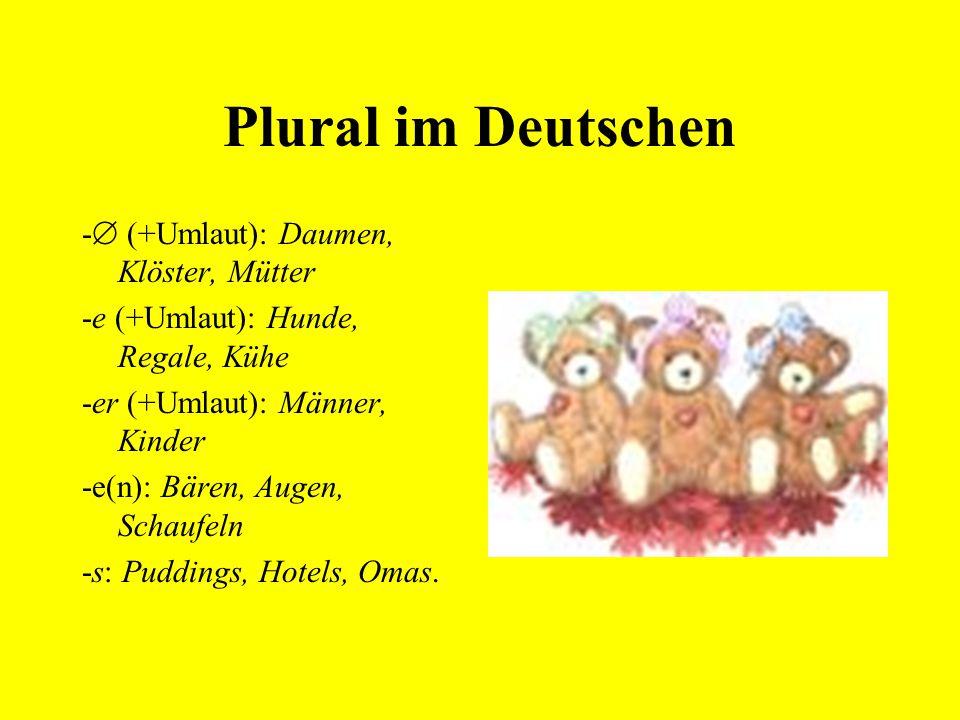 Plural im Deutschen - (+Umlaut): Daumen, Klöster, Mütter