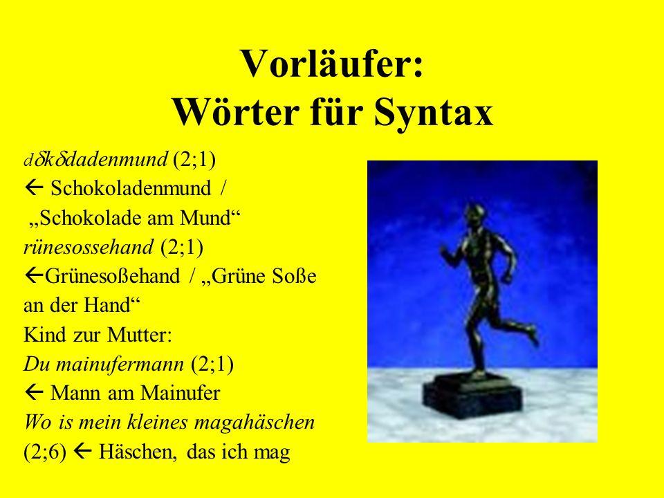 Vorläufer: Wörter für Syntax