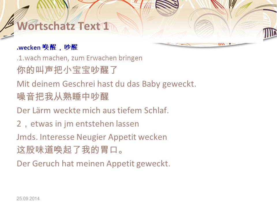 Wortschatz Text 1 你的叫声把小宝宝吵醒了