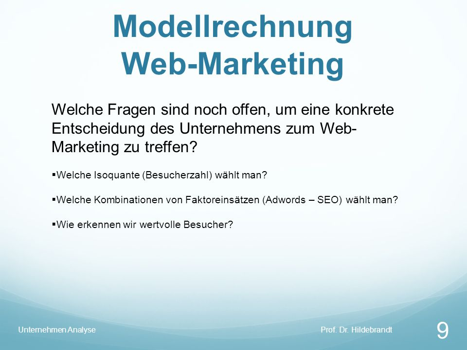 Modellrechnung Web-Marketing