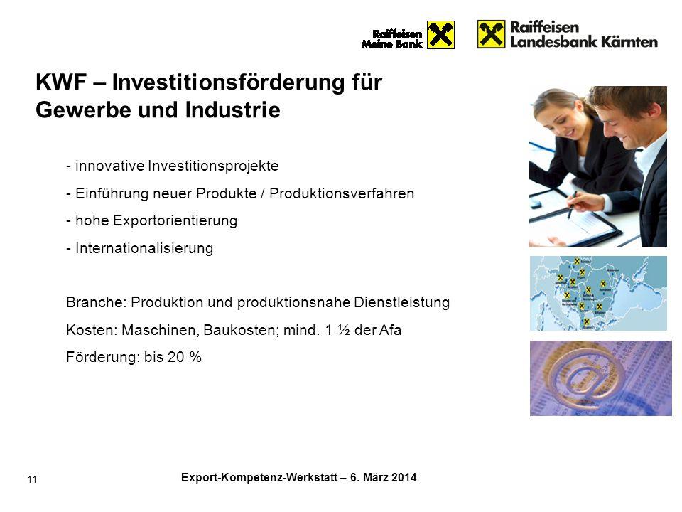 KWF – Investitionsförderung für Gewerbe und Industrie