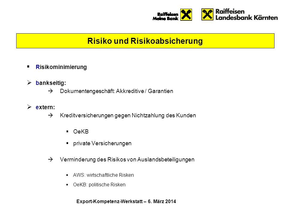 Risiko und Risikoabsicherung