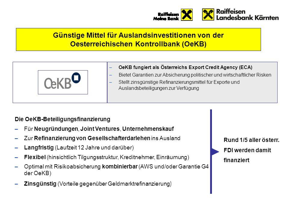 Günstige Mittel für Auslandsinvestitionen von der Oesterreichischen Kontrollbank (OeKB)