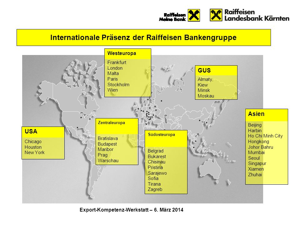Internationale Präsenz der Raiffeisen Bankengruppe