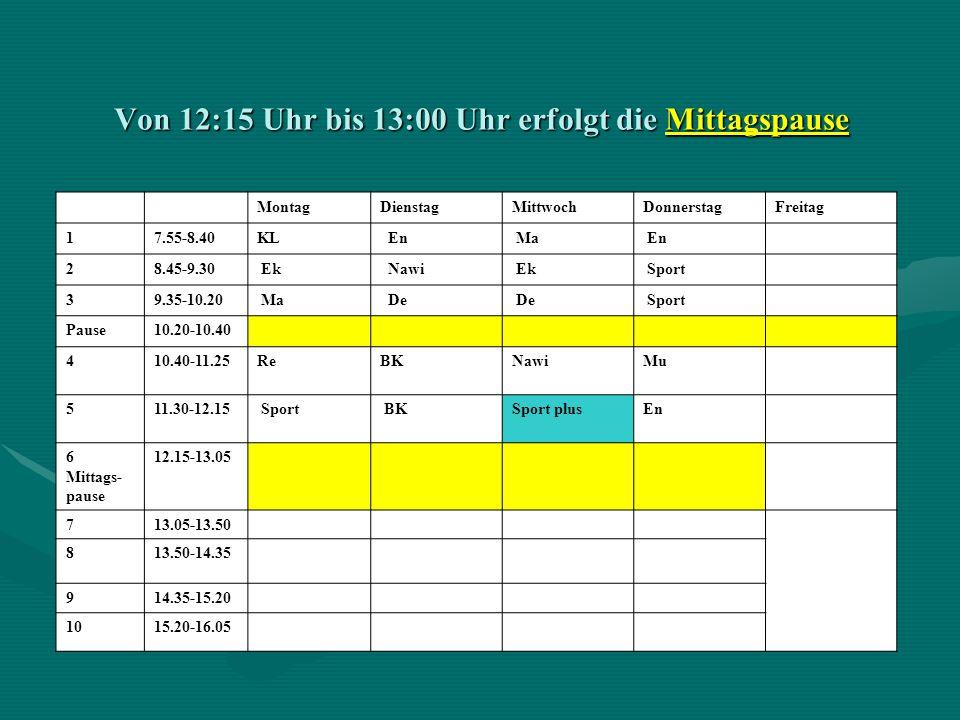 Von 12:15 Uhr bis 13:00 Uhr erfolgt die Mittagspause