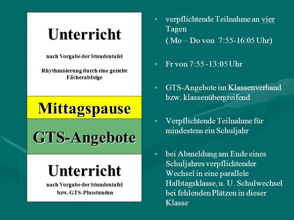 Unterricht Mittagspause GTS-Angebote