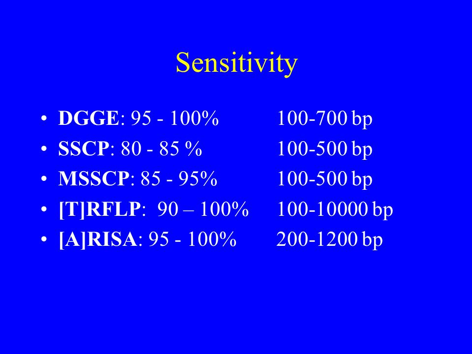 Sensitivity DGGE: 95 - 100% 100-700 bp SSCP: 80 - 85 % 100-500 bp