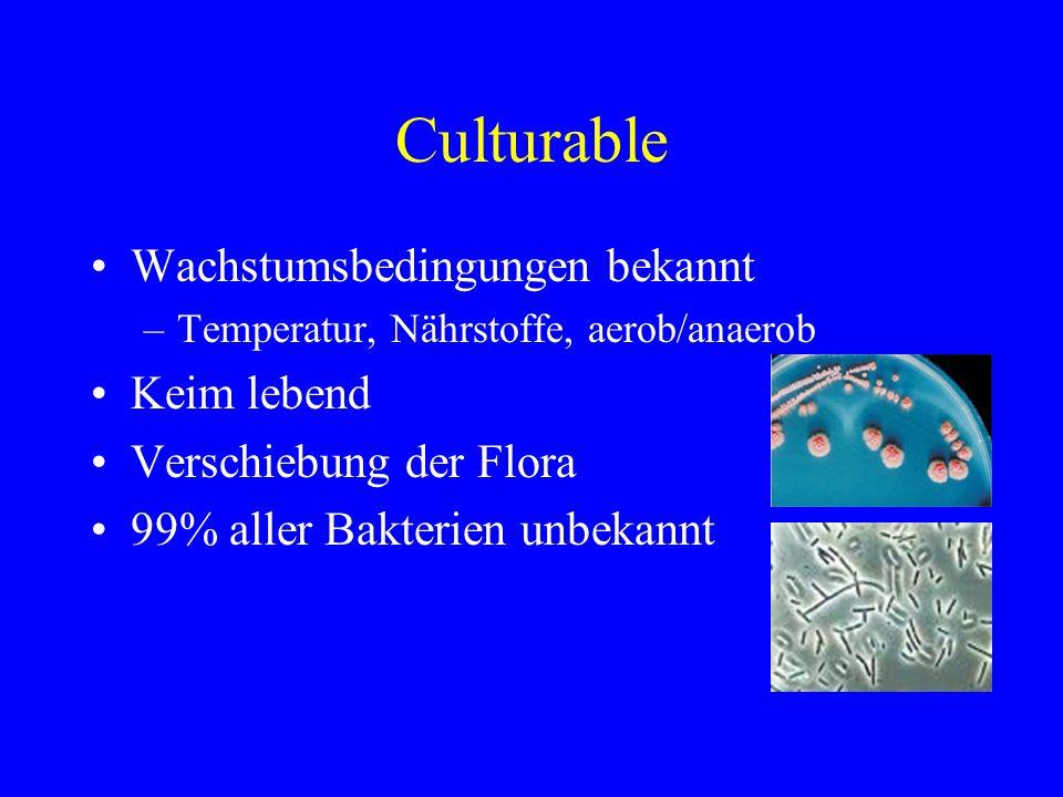 Culturable Wachstumsbedingungen bekannt Keim lebend