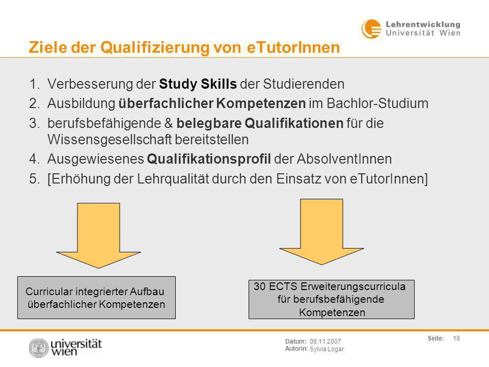 Ziele der Qualifizierung von eTutorInnen