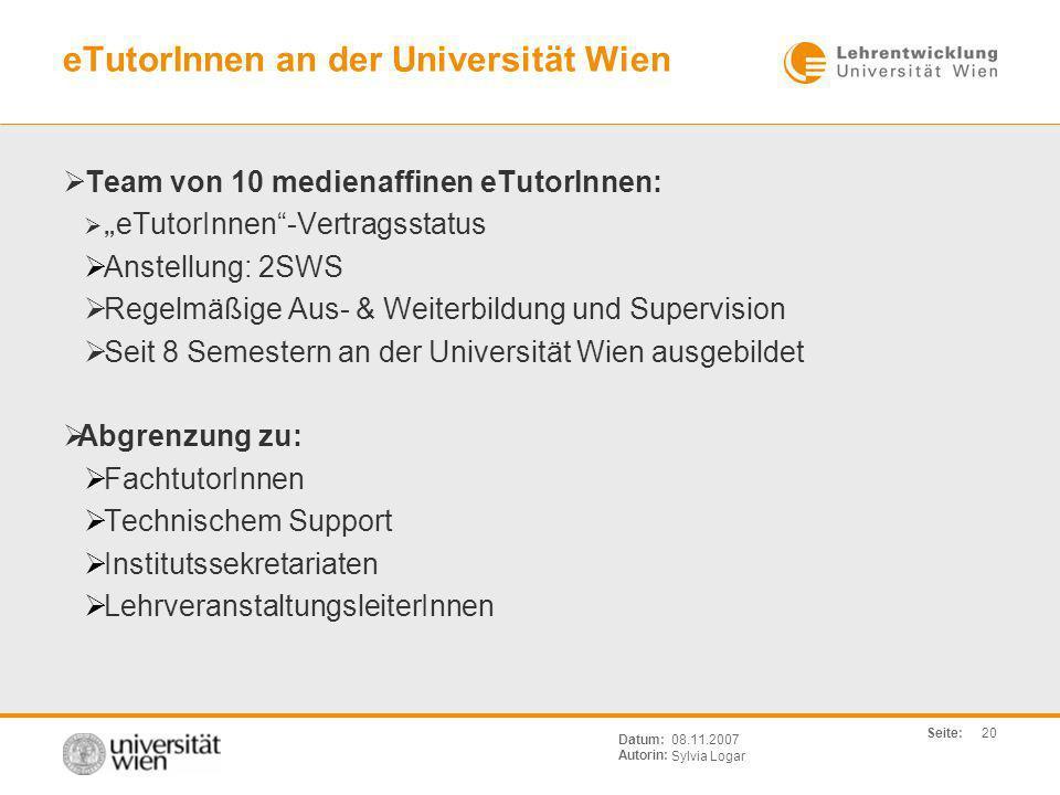 eTutorInnen an der Universität Wien