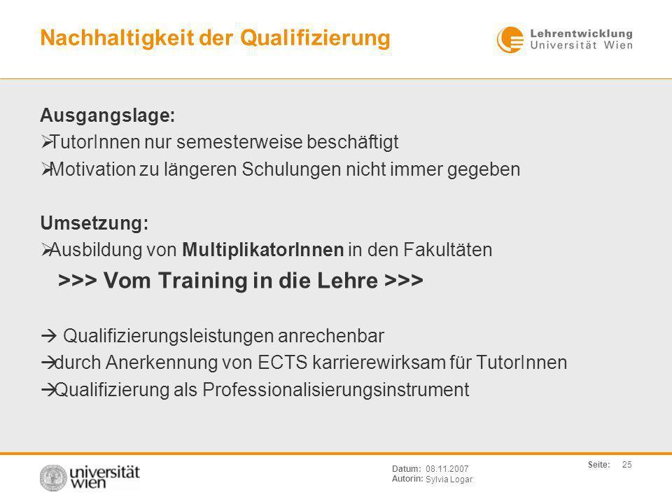 Nachhaltigkeit der Qualifizierung